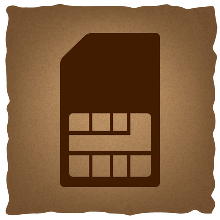 prepaid: Sim card sign. Coffee style on old paper.