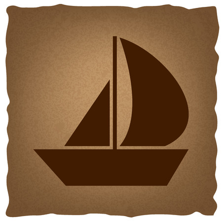 sail boat: Sail Boat sign. Coffee style on old paper.