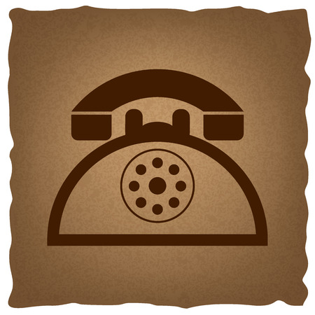 old telephone: Retro telephone sign. Coffee style on old paper. Illustration
