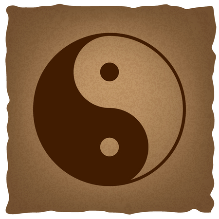 armonia: símbolo ying yang de la armonía y el equilibrio. estilo del café en el papel viejo.