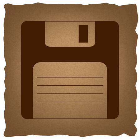 device disc: Floppy disk sign. Coffee style on old paper. Illustration