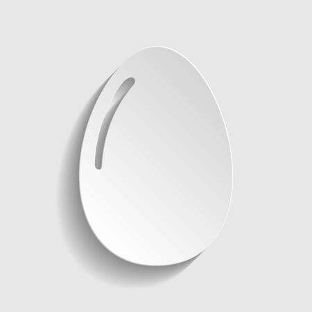 chiken: Chiken egg icon. Paper style icon with shadow on gray Illustration