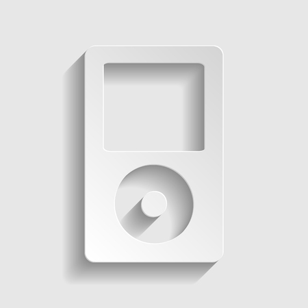 mp: Portable music device. Paper style icon with shadow on gray Illustration