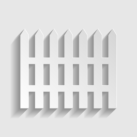 dissociation: Fence simple icon. Paper style icon with shadow on gray Illustration