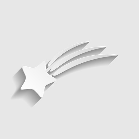 starfall: Shooting star icon. Paper style icon with shadow on gray
