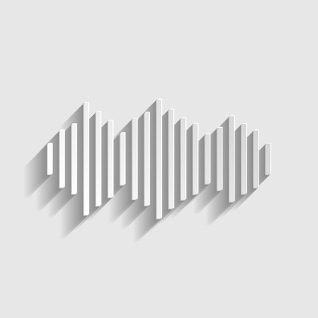 vibrations: Sound waves icon. Paper style icon with shadow on gray