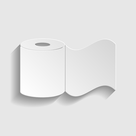 fecal: Toilet Paper Icon. Paper style icon with shadow on gray Illustration