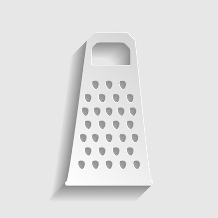 grater: Cheese grater icon. Paper style icon with shadow on gray Illustration