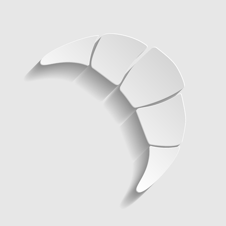 www tasty: Croissant simple icon. Paper style icon with shadow on gray Illustration