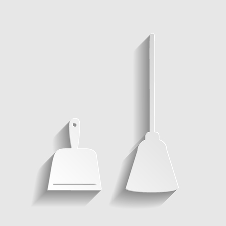 dustpan: Dustpan vector icon. Scoop for cleaning garbage housework dustpan equipment. Paper style icon with shadow on gray