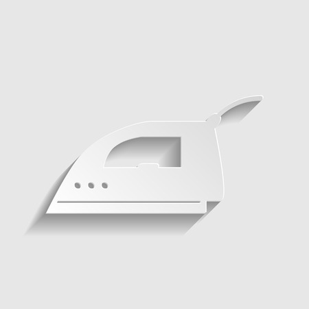 smoothing: Smoothing, Iron icon. Paper style icon with shadow on gray Illustration