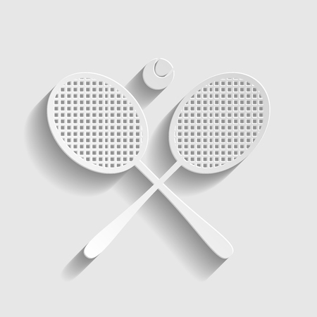 stretched: Tennis racket icon. Paper style icon with shadow on gray