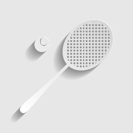 tennis racquet: Tennis racquet icon. Paper style icon with shadow on gray