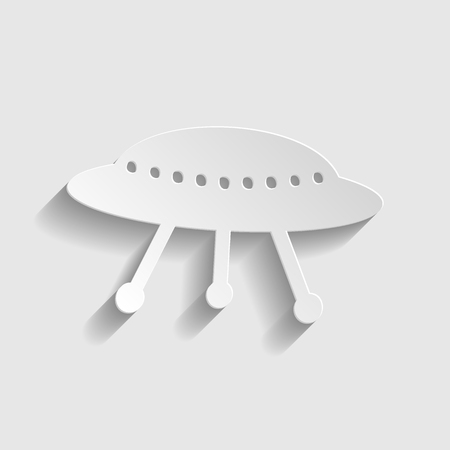 UFO simple  icon. Paper style icon with shadow on gray Illustration