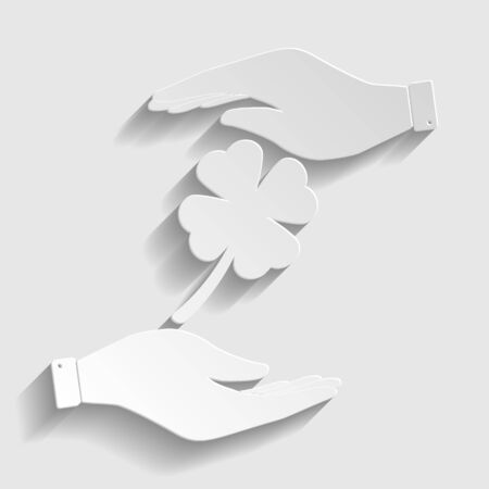 irish culture: Leaf clover sign. Save or protect symbol by hands. Paper style icon with shadow on gray.