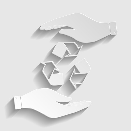 recyclable waste: Recycle logo concept. Flat style icon vector illustration. Illustration