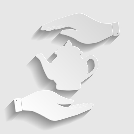 sign maker: Tea maker sign. Save or protect symbol by hands. Paper style icon with shadow on gray. Illustration
