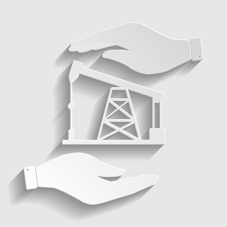 drilling rig: Oil drilling rig sign. Save or protect symbol by hands. Paper style icon with shadow on gray.