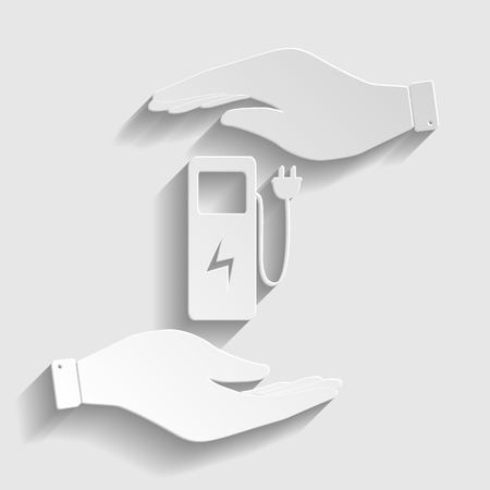 zero emission: Electric car charging station sign. Save or protect symbol by hands. Paper style icon with shadow on gray. Illustration