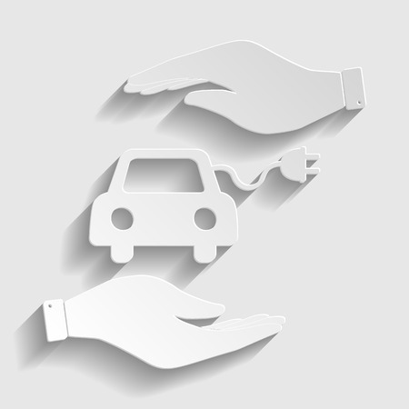 automobile industry: Eco electrocar sign. Save or protect symbol by hands. Paper style icon with shadow on gray. Illustration