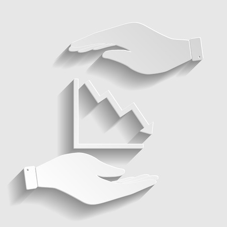 downwards: Arrow pointing downwards showing crisis. Flat style icon vector illustration. Illustration