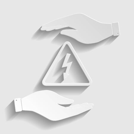 voltage gray: High voltage danger sign. Save or protect symbol by hands. Paper style icon with shadow on gray.