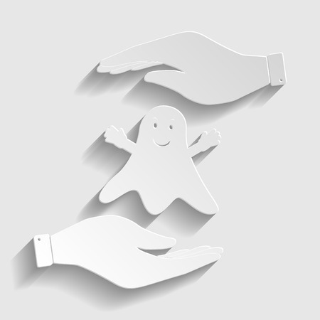 Ghost isolated sign. Flat style icon vector illustration.