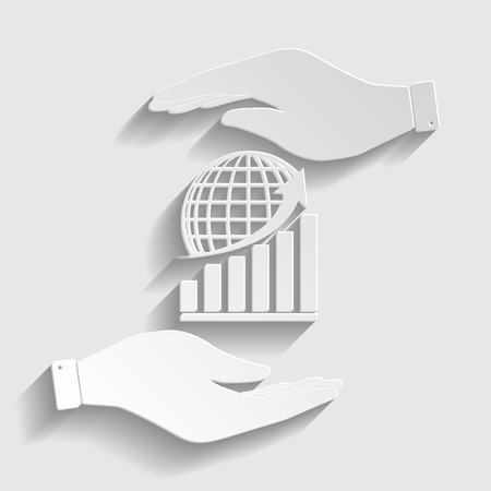 stock market crash: Growing graph with earth. Save or protect symbol by hands. Paper style icon with shadow on gray.