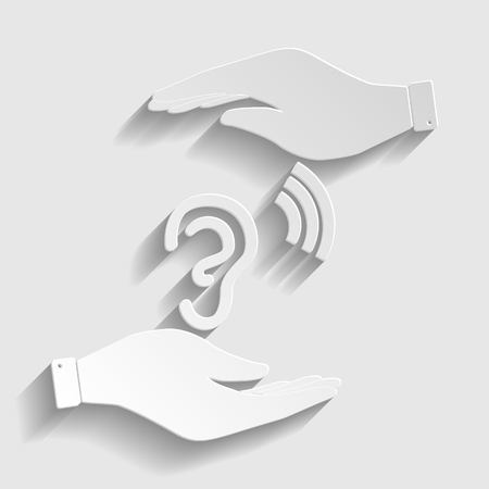 audible: Human ear sign. Save or protect symbol by hands. Paper style icon with shadow on gray. Illustration