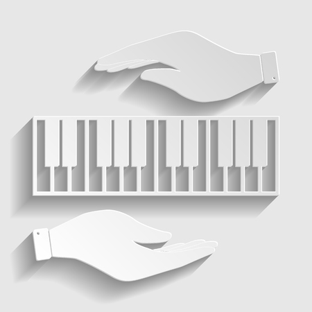 acoustically: Piano Keyboard  sign. Save or protect symbol by hands. Paper style icon with shadow on gray.