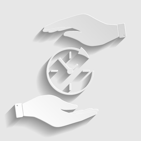 Service and support for customers around the clock and 24 hours. Save or protect symbol by hands. Paper style icon with shadow on gray.