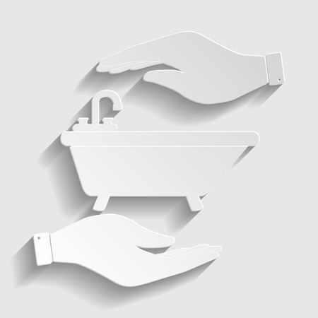 bathtub: Bathtub sign. Save or protect symbol by hands. Paper style icon with shadow on gray.
