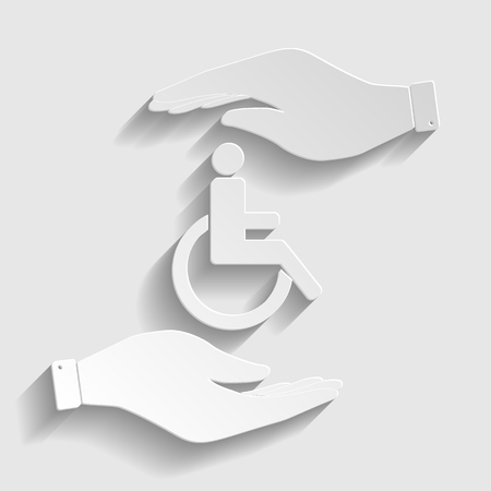 accessible: Disabled sign. Save or protect symbol by hands. Paper style icon with shadow on gray. Illustration