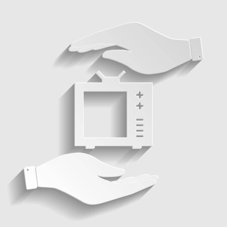 tvset: TV sign. Save or protect symbol by hands. Paper style icon with shadow on gray.