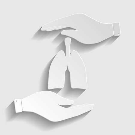 pulmones: Human organs. Lungs sign. Save or protect symbol by hands. Paper style icon with shadow on gray. Illustration