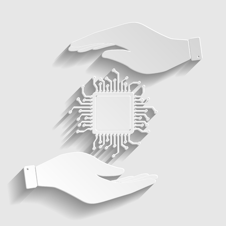 gpu: CPU Microprocesso. Save or protect symbol by hands. Paper style icon with shadow on gray. Illustration