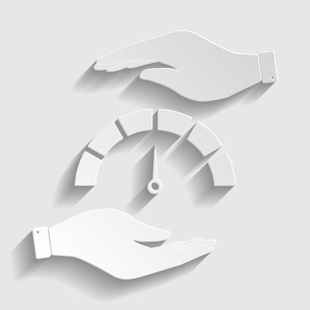 warning indicator: Speedometer sign. Save or protect symbol by hands. Paper style icon with shadow on gray. Illustration