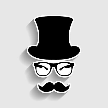 Conception d'accessoires de style hipster. Icône de style autocollant avec ombre sur fond gris. Vecteurs