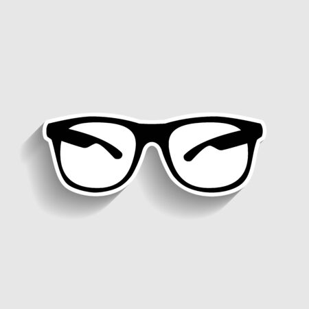 eyewear fashion: Sunglasses sign. Sticker style icon with shadow on gray.