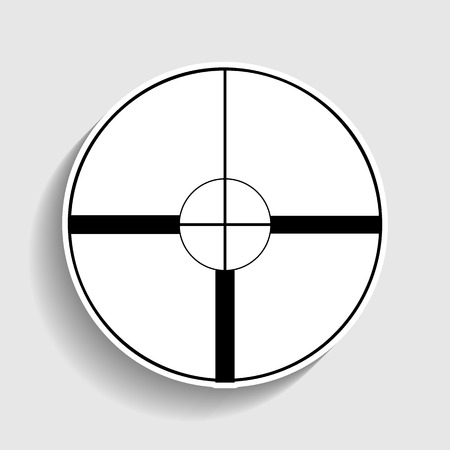 sight: Sight sign. Sticker style icon with shadow on gray.
