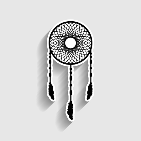 swelled: Dream catcher sign. Sticker style icon with shadow on gray.