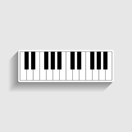clavier: Piano Keyboard  sign. Sticker style icon with shadow on gray. Illustration