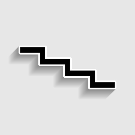 high way: Stair down sign. Sticker style icon with shadow on gray. Illustration