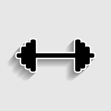heavy load: Dumbbell weights sign. Sticker style icon with shadow on gray.