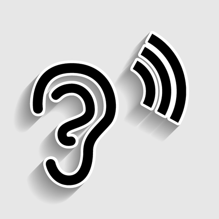 tapping: Human ear sign. Sticker style icon with shadow on gray. Illustration
