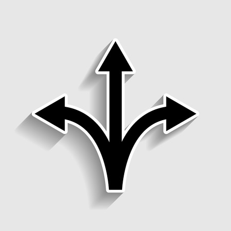 Three-way direction arrow sign. Sticker style icon with shadow on gray.