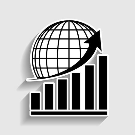 stock market crash: Growing graph with earth. Sticker style icon with shadow on gray. Illustration