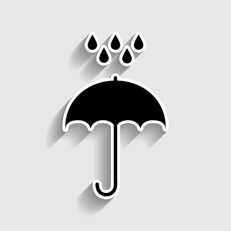 nylon: Umbrella with water drops. Rain protection symbol. Flat design style. Sticker style icon with shadow on gray. Illustration
