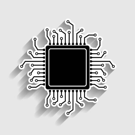 CPU Microprocessor. Sticker style icon with shadow on gray.