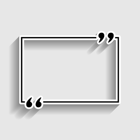 inverted: Text quote sign. Sticker style icon with shadow on gray.